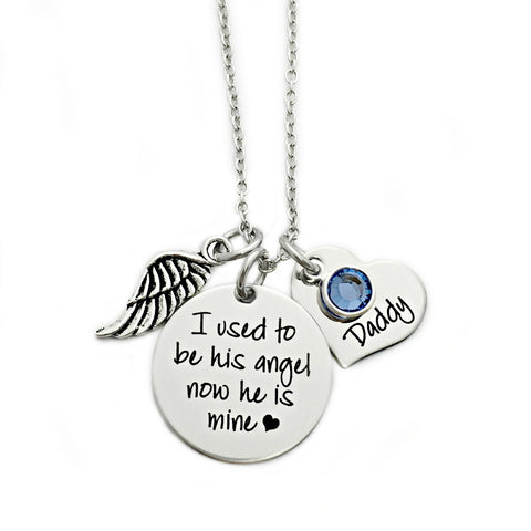 I USED TO BE HIS ANGEL NOW HE IS MINE ROUND NECKLACE