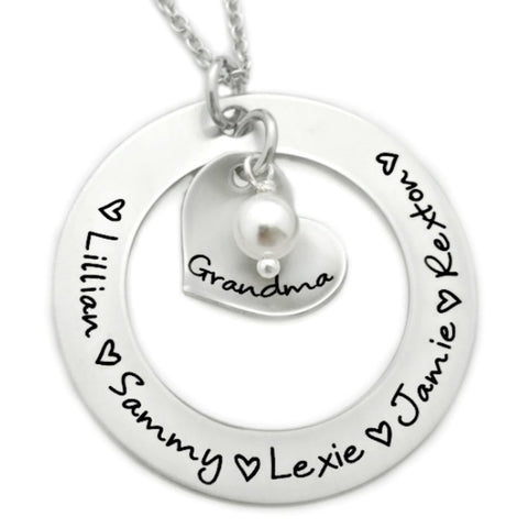 NAME WASHER WITH HEART IN CENTER NECKLACE