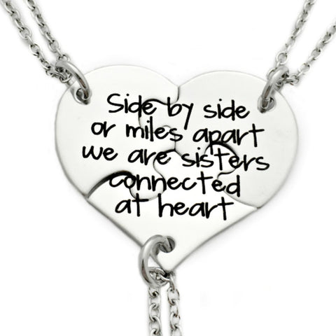 SIDE BY SIDE OR MILES APART THREE PUZZLE PIECE NECKLACE SET