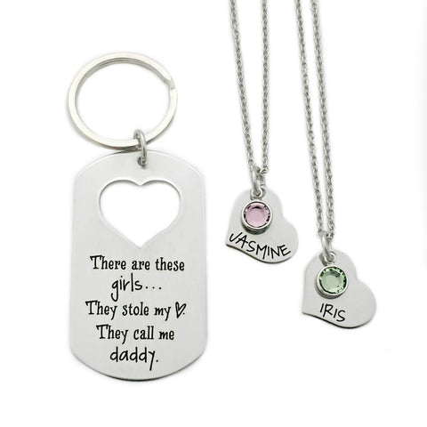 THESE GIRLS STOLE MY HEART KEYCHAIN AND NECKLACE SET