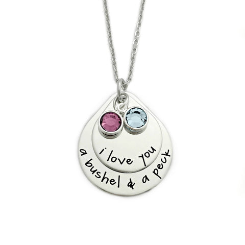 I LOVE YOU A BUSHEL AND A PECK TEARDROP BIRTHSTONE NECKLACE