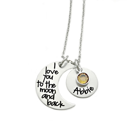 I LOVE YOU TO THE MOON AND BACK NAME AND BIRTHSTONE NECKLACE