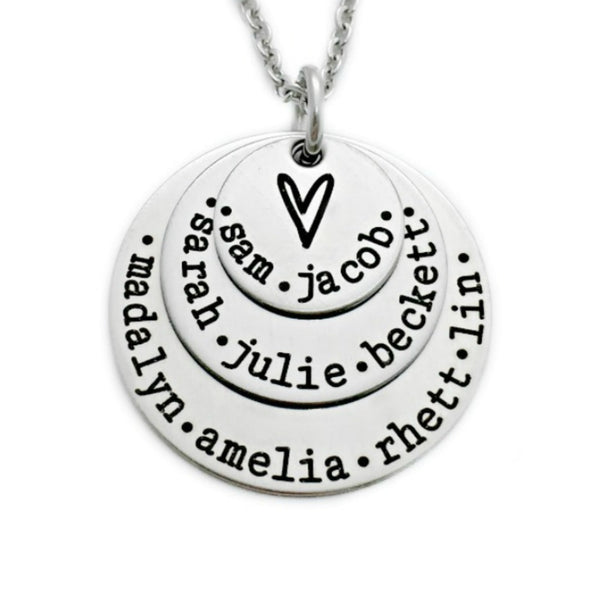 THREE LAYER HEART NAMES NECKLACE