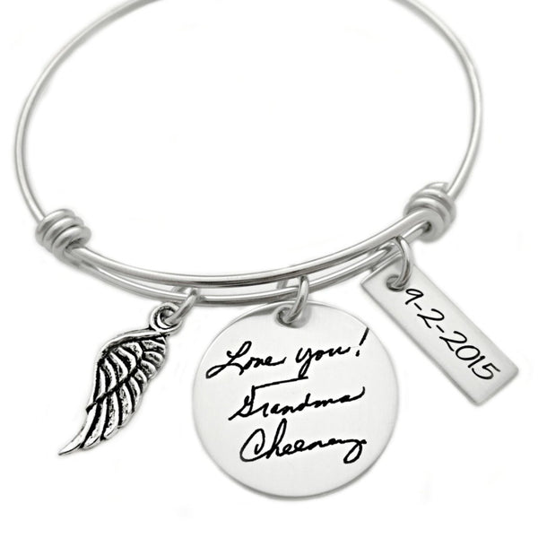 HANDWRITING MEMORIAL BANGLE BRACELET