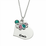 MOM HEART BIRTHSTONE NECKLACE