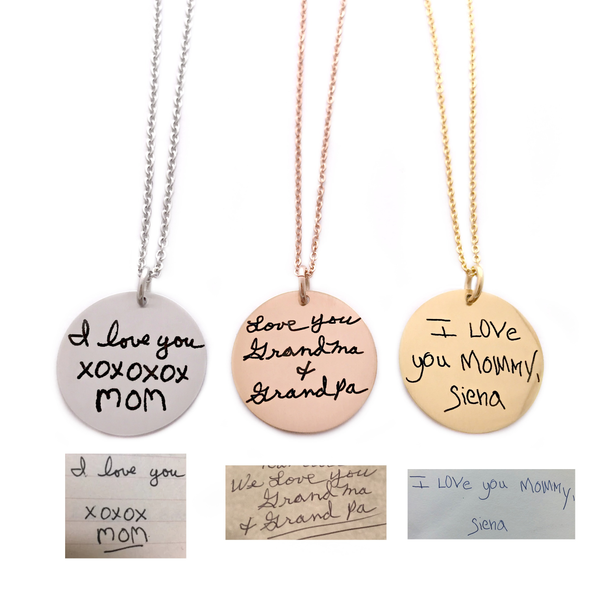 "1"" ROUND HANDWRITING NECKLACE"