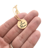 "5/8"" ROUND HANDWRITING NECKLACE"