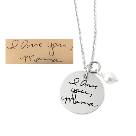 "7/8"" ROUND HANDWRITING NECKLACE"