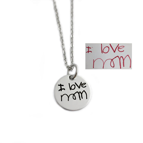 "1/2"" ROUND HANDWRITING NECKLACE"
