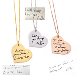 MIXED METAL HANDWRITING HEART NECKLACE