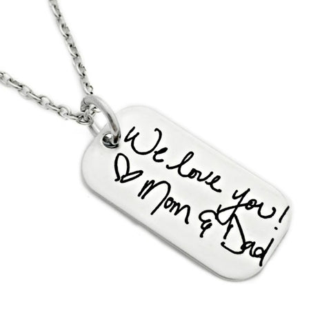 CUSTOM HANDWRITING TAG NECKLACE