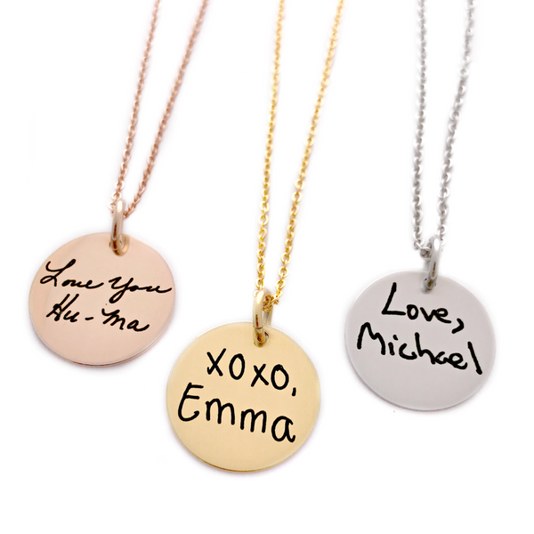"3/4"" ROUND HANDWRITING NECKLACE"