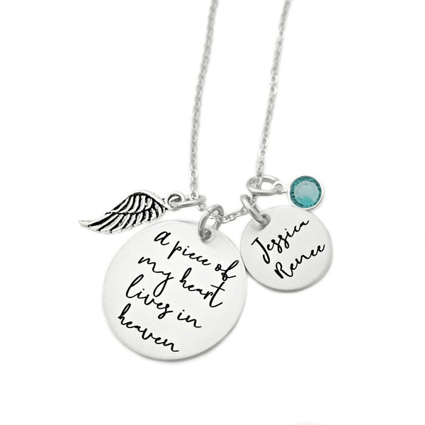A PIECE OF MY HEART LIVES IN HEAVEN CURSIVE NECKLACE