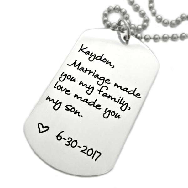 DOGTAG NECKLACE WEDDING GIFT FOR CHILD