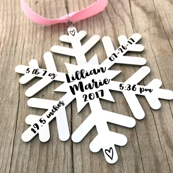 BABY BIRTH STATS SNOWFLAKE ORNAMENT