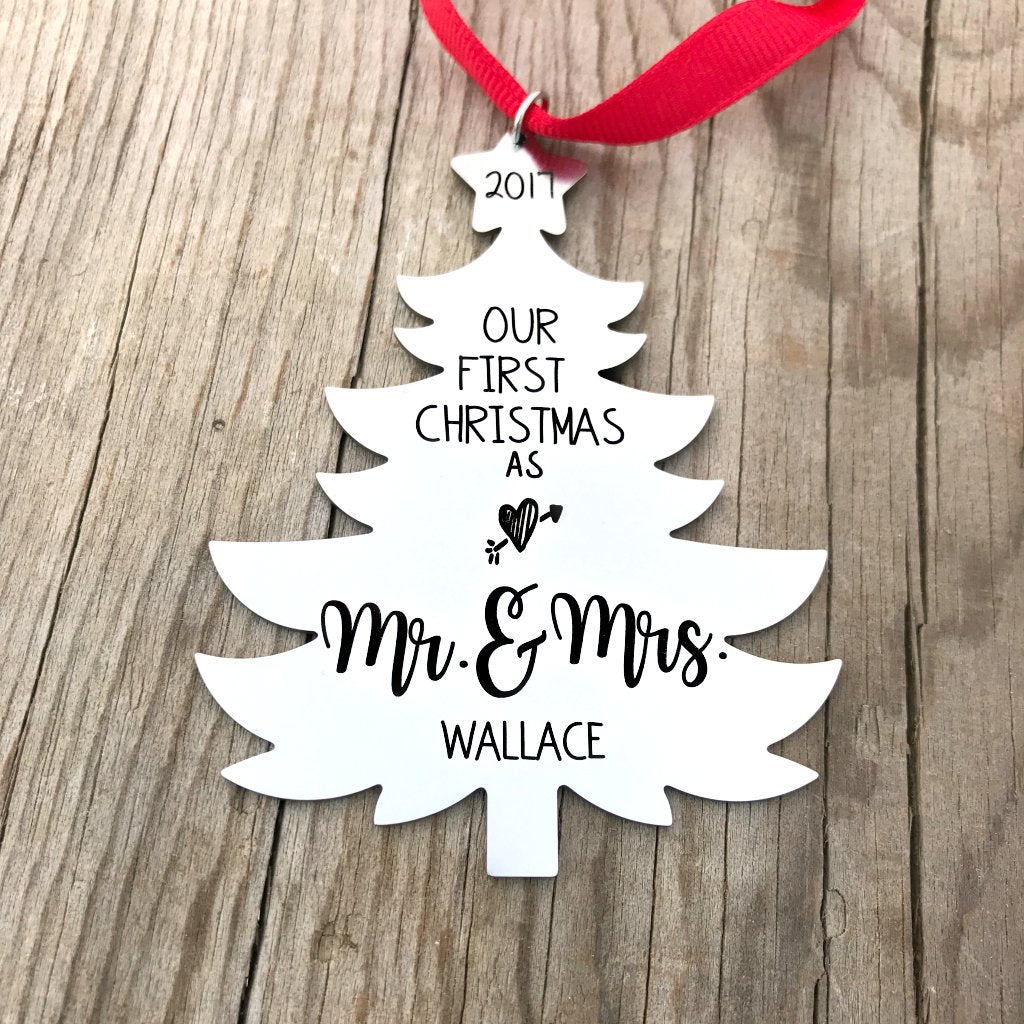 our first christmas as mr mrs tree ornament newlywed ornament