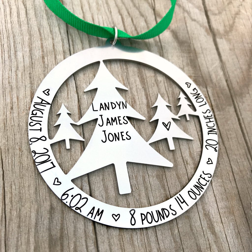 ROUND BABY BIRTH STATS TREE SCENE ORNAMENT