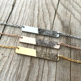 FINGERPRINT BAR NECKLACE - CHOOSE METAL TYPE