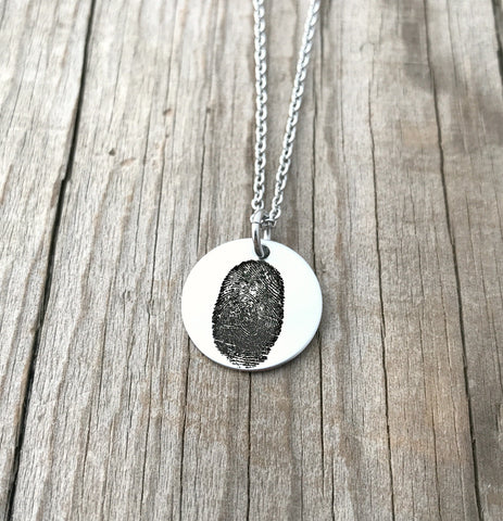 "3/4"" Round Fingerprint Necklace"