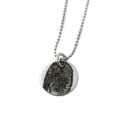 "5/8"" round fingerprint necklace"