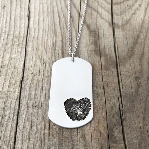 Fingerprint heart dog tag necklace