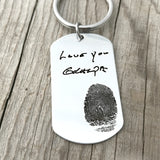 Dog Tag Fingerprint Keychain