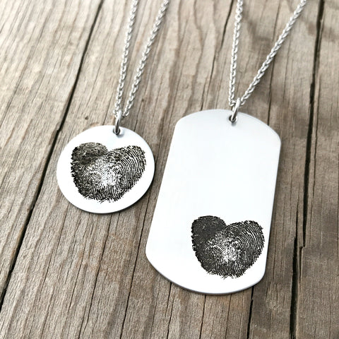 Fingerprint heart Necklace set