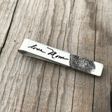 Handwriting & Fingerprint Tie Clip