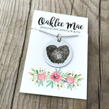 "1"" round fingerprint heart necklace"