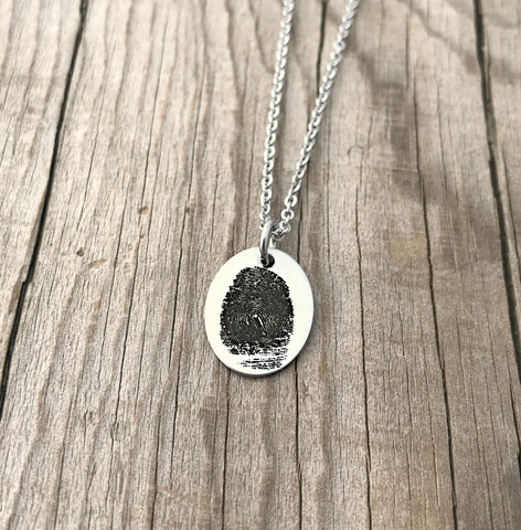 Tiny Oval Fingerprint Necklace