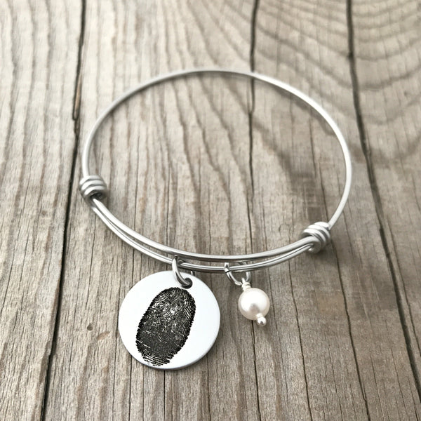 "3/4"" Round Fingerprint Bangle"