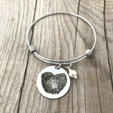 Fingerprint heart bangle