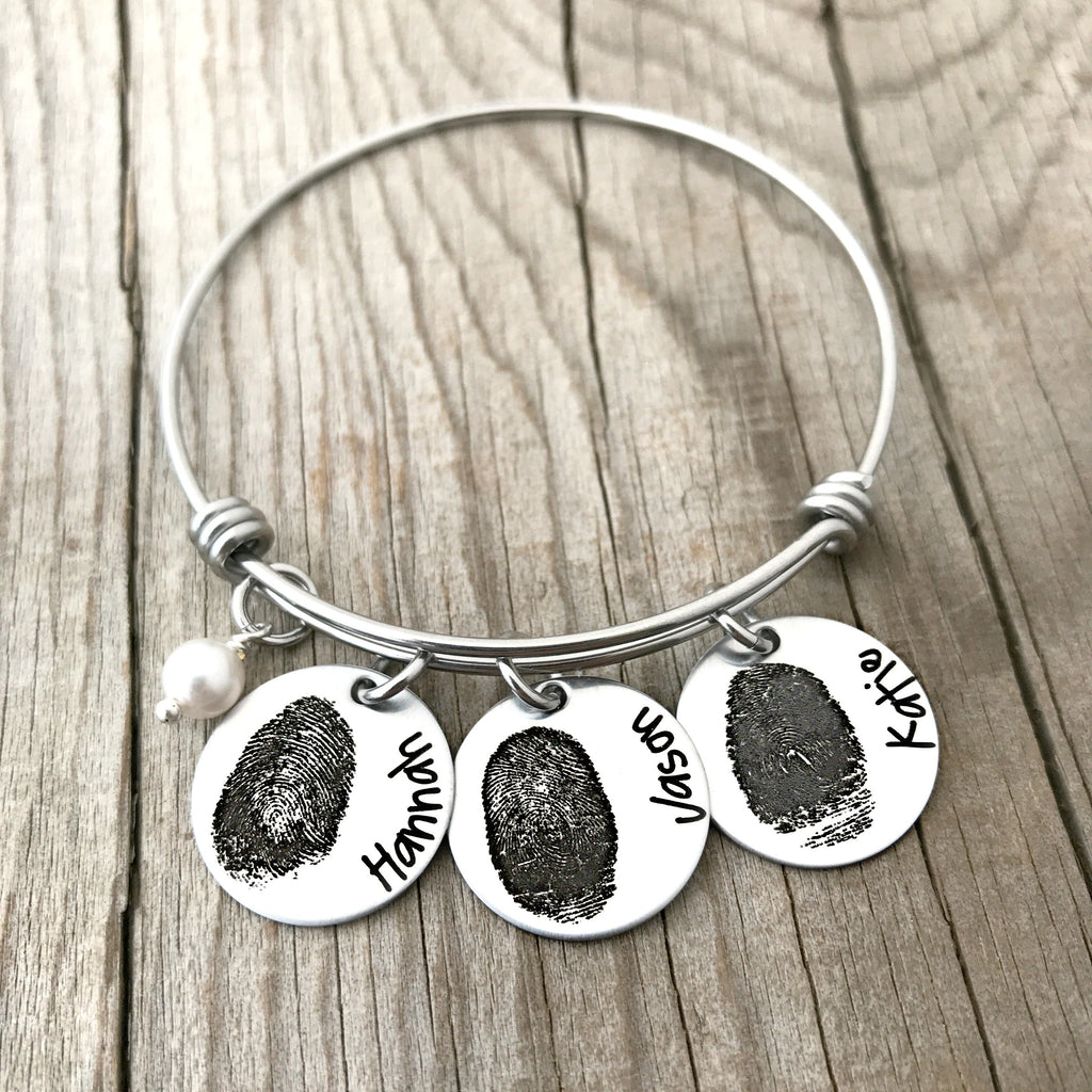 Fingerprint Name Bangle Bracelet