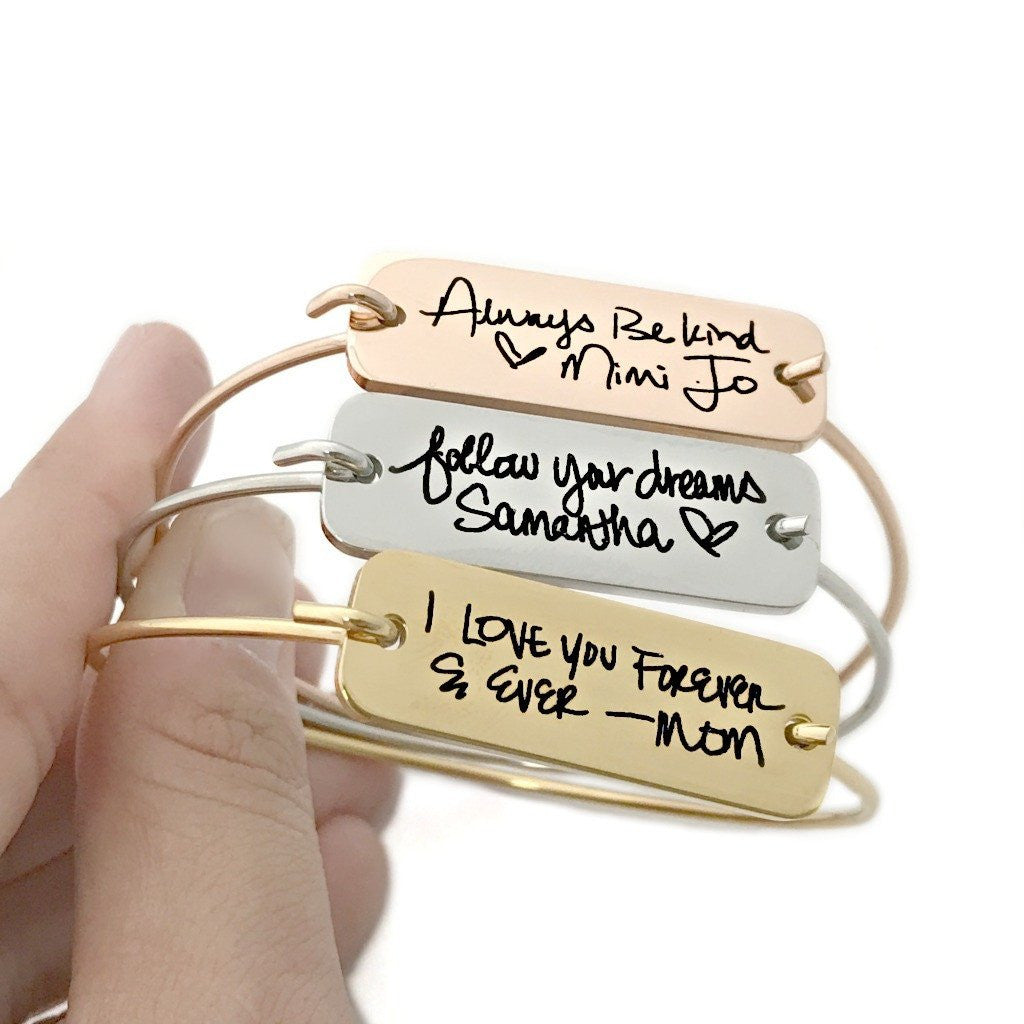 ROSE GOLD, STAINLESS STEEL, OR GOLD HANDWRITING PLATE BANGLE