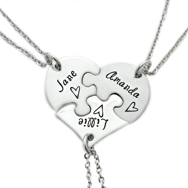 BEST FRIENDS NAME PUZZLE HEART NECKLACE