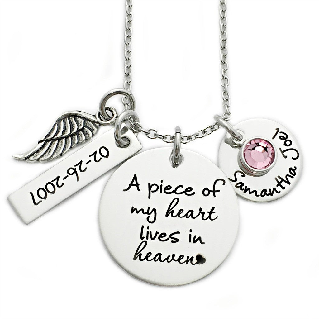 A PIECE OF MY HEART LIVES IN HEAVEN ROUND NECKLACE