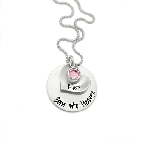 BORN INTO HEAVEN WITH PERSONALIZED HEART NECKLACE