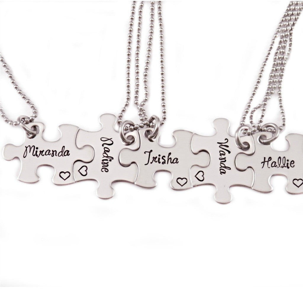 BRIDESMAID NAME PUZZLE PIECE NECKLACE