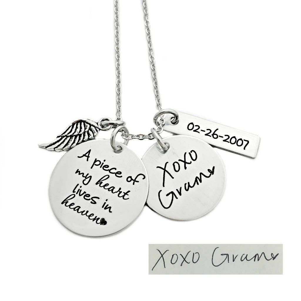 A PIECE OF MY HEART LIVES IN HEAVEN HANDWRITING NECKLACE