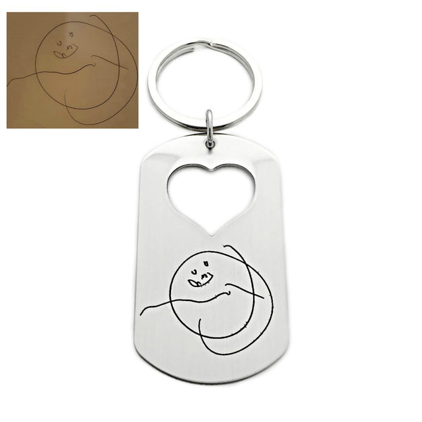 CHILD'S ARTWORK HEART CUTOUT KEYCHAIN