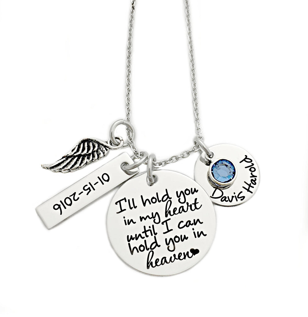 I'LL HOLD YOU IN MY HEART WITH NAME AND DATE NECKLACE