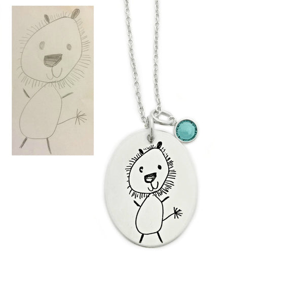CHILD'S DRAWING OVAL NECKLACE
