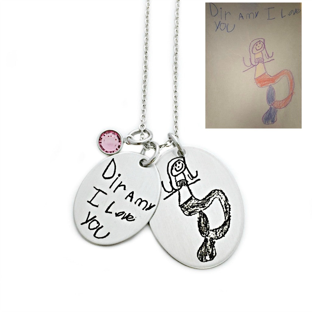 CHILD'S HANDWRITING & ARTWORK OVAL NECKLACE