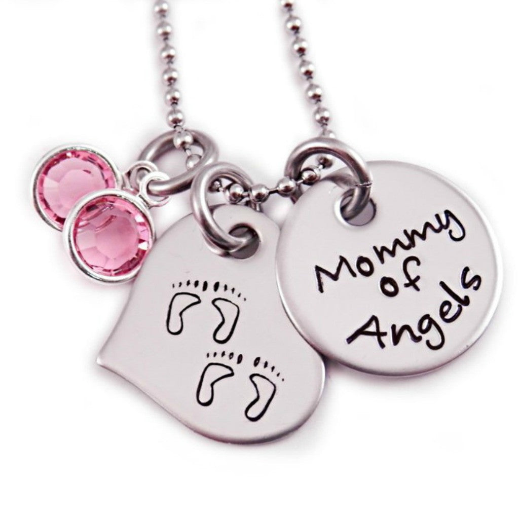 MOMMY OF ANGELS TWIN MEMORIAL NECKLACE