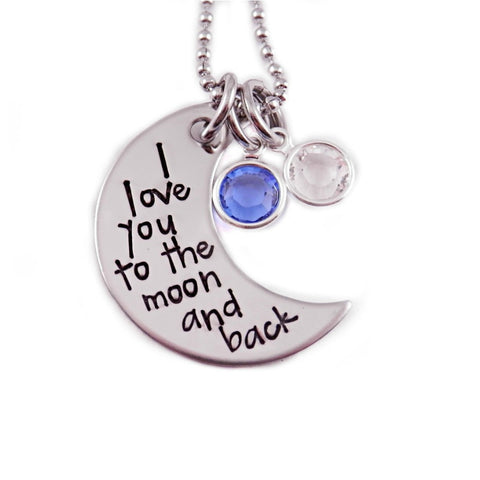 I LOVE YOU TO THE MOON AND BACK BIRTHSTONE MOON NECKLACE