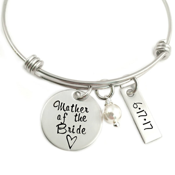 MOTHER OF THE BRIDE OR GROOM BANGLE BRACELET