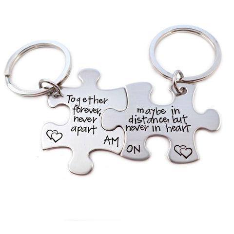 PERSONALIZED INITIAL PUZZLE PIECE KEYCHAIN SET - TOGETHER FOREVER NEVER APART