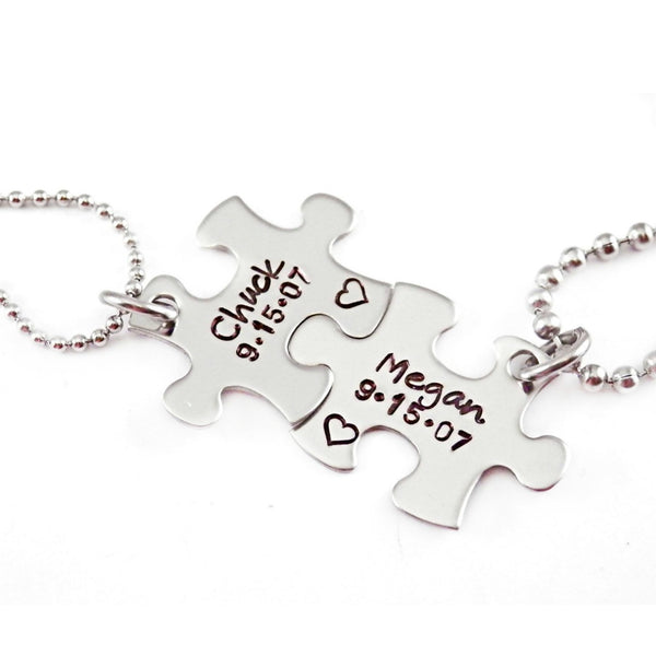 NAME AND DATE PUZZLE PIECE NECKLACE SET OF 2