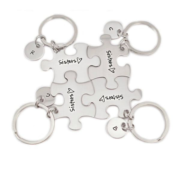 PERSONALIZED INITIAL SISTERS KEYCHAIN SET