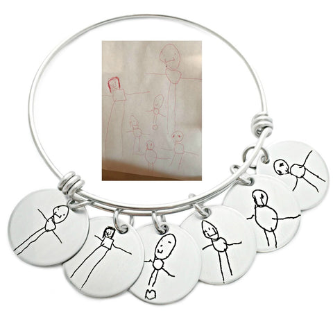 HANDWRITING CHARM BANGLE BRACELET